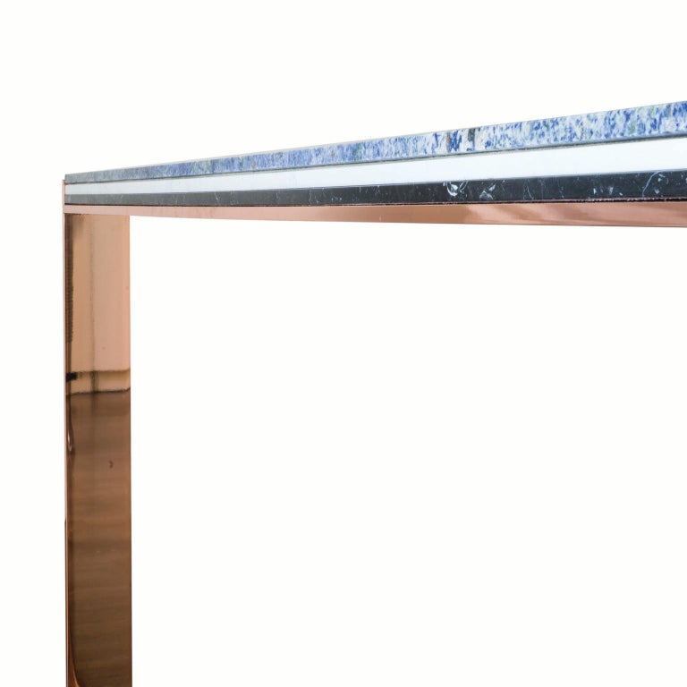 Italian Contemporary Marbellous Modular Dining Table in Marble with Metal Base For Sale