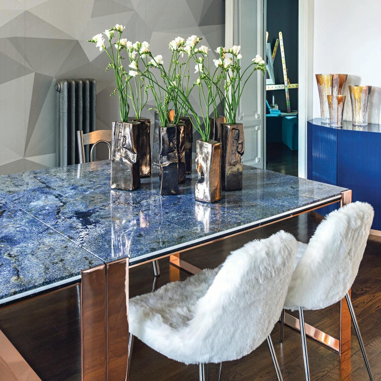 Contemporary Marbellous Modular Dining Table in Marble with Metal Base In New Condition For Sale In Milan, Lombrady