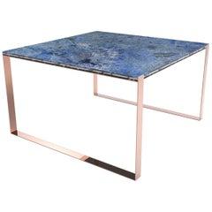 Zeitgenössische Marbellous modulare Esstisch aus Marmor mit Metallfuß