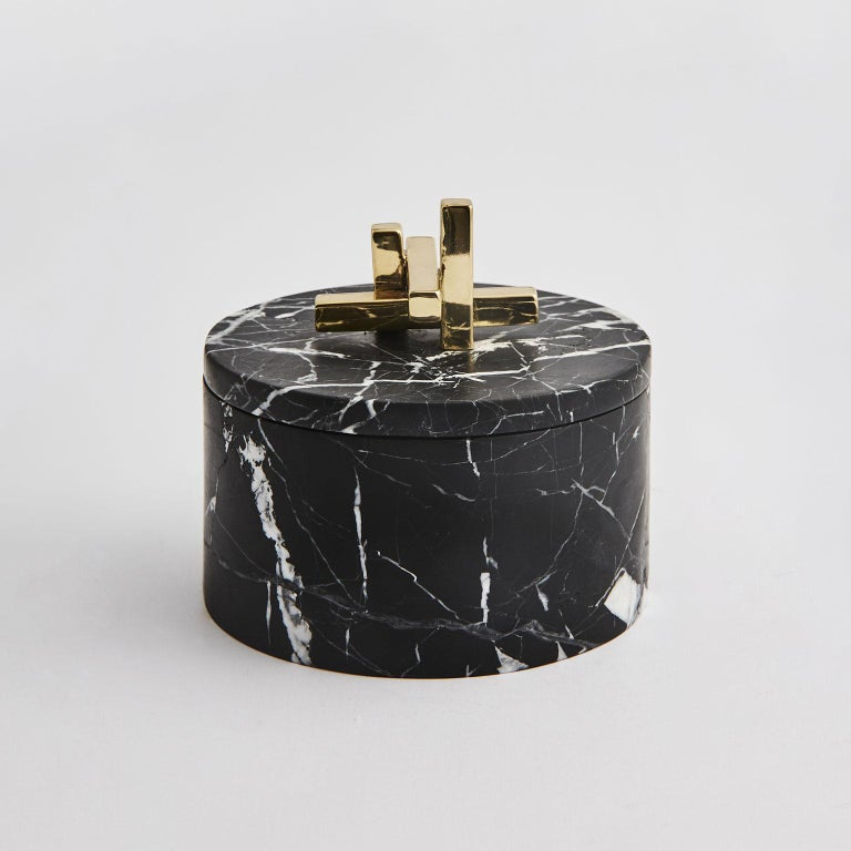 Unknown Contemporary Marble and Brass Metropolis Round Box by Greg Natale For Sale