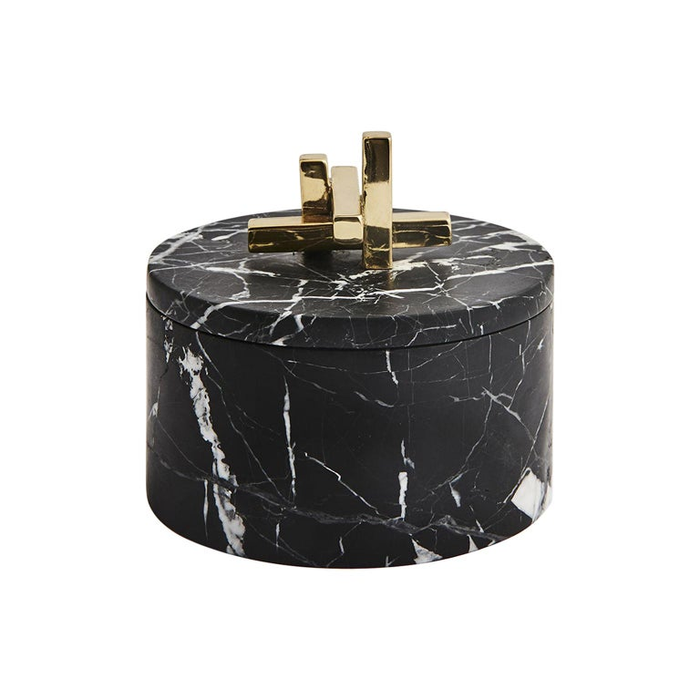 Contemporary Marble and Brass Metropolis Round Box by Greg Natale For Sale