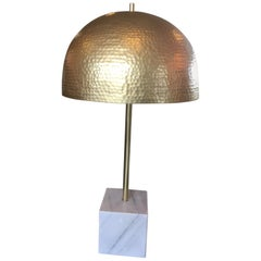 Contemporary Marble and Brass Table Lamp