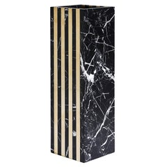 Contemporary Marble and Solid Brass Dynasty Duo Thin Vase by Greg Natale