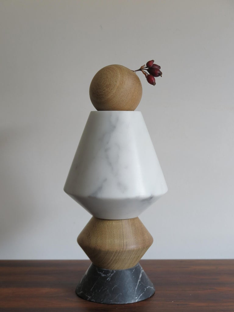Modern Contemporary Marble and Wood Sculpture, Candleholders, Flower Vase Itotem For Sale