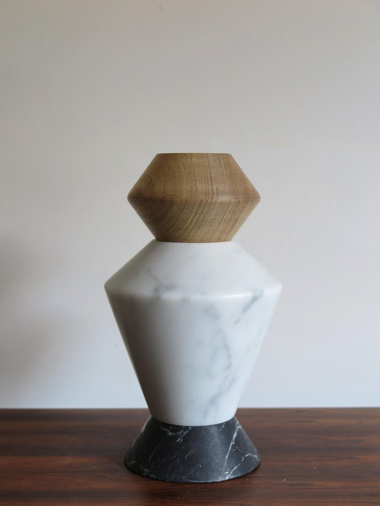 Contemporary Marble and Wood Sculpture, Candleholders, Flower Vase Itotem In New Condition For Sale In Modena, IT