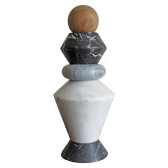 Contemporary Marble and Wood Sculpture, Candle Holders, Flower Vase iTotem