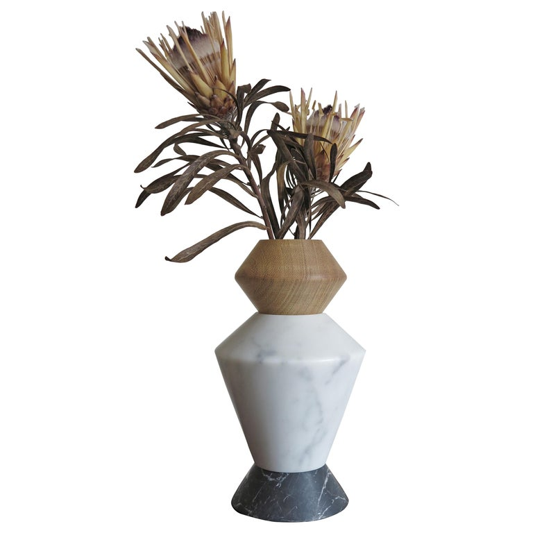Contemporary Marble and Wood Sculpture, Candleholders, Flower Vase Itotem For Sale