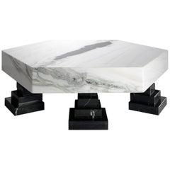 Contemporary Marble Center Table in Panda White Marble and Nero Marquina Marble