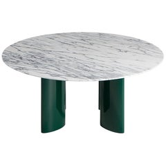 Contemporary Marble Coffee Table in Green Lacquered Legs