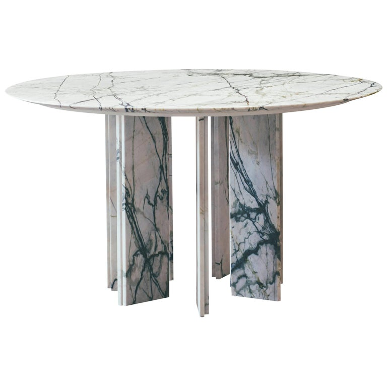 Contemporary Marble Dining Table, Ellipse 01.6 c by Barh For Sale