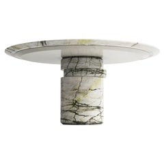 Contemporary Marble Dining Table M, Calacatta Verde, Disc Table by Barh.Design