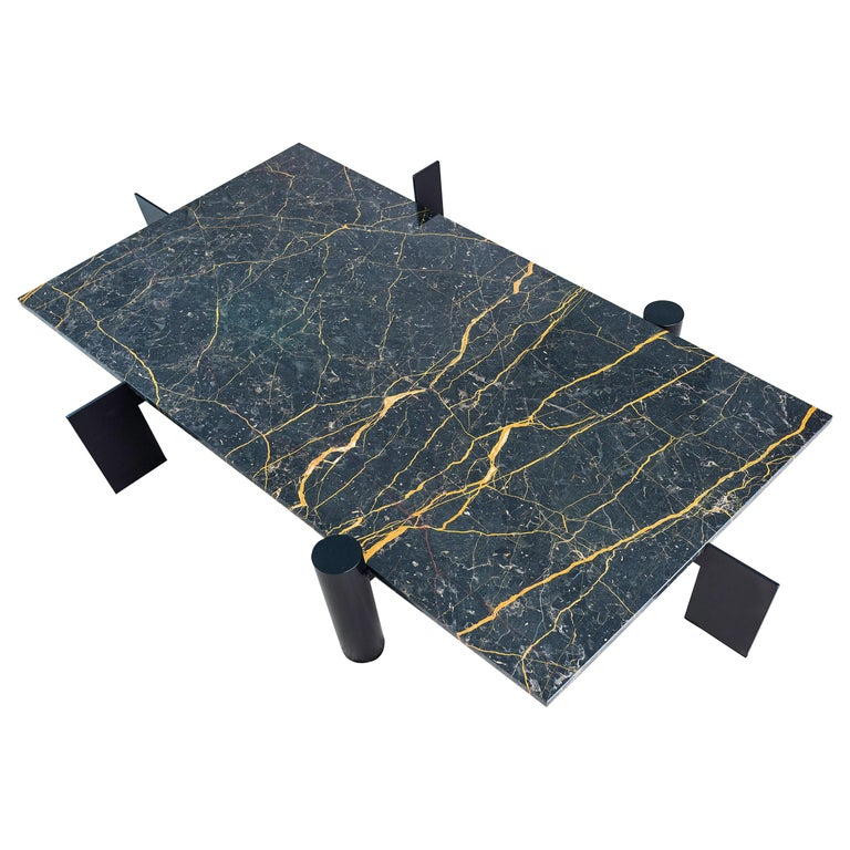 Contemporary Marble Metal Leg Nobe Italia Coffee Table For Sale