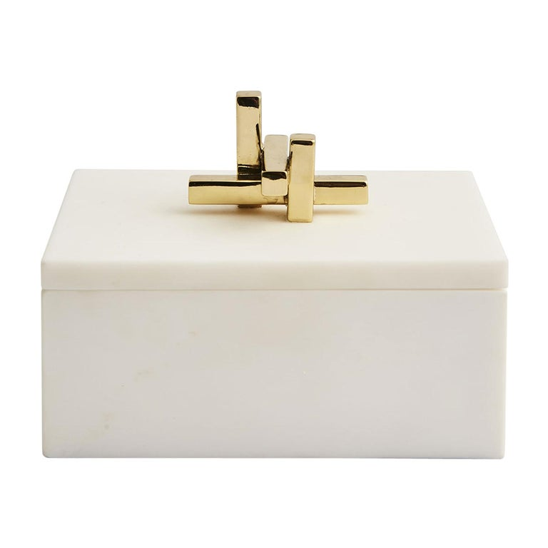 Contemporary Marble Metropolis Box with Brass Handle by Greg Natale For Sale