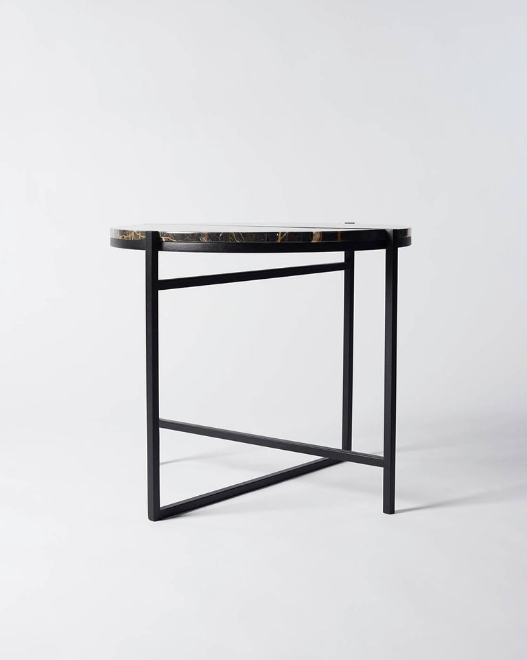 Polished Contemporary Marble Side Table, Handcrafted, Minimalist, Modern, Round  For Sale