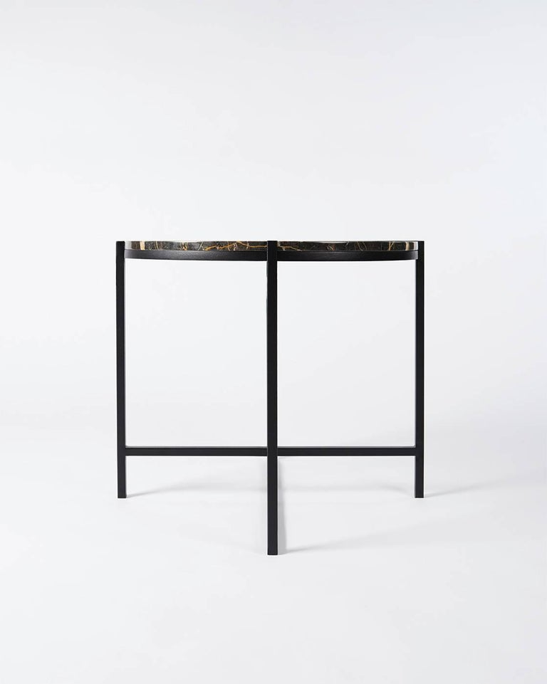 Stainless Steel Contemporary Marble Side Table, Handcrafted, Minimalist, Modern, Round  For Sale