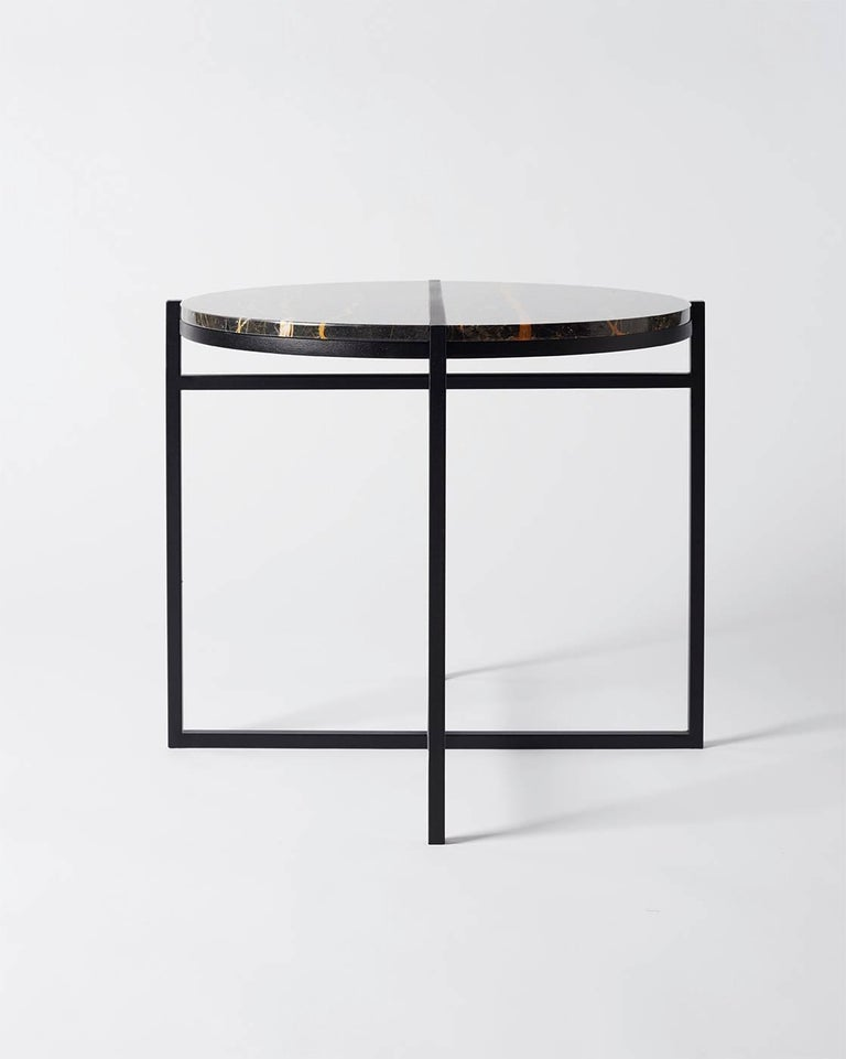 Contemporary Marble Side Table, Handcrafted, Minimalist, Modern, Round  For Sale 1