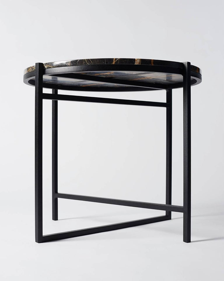 Contemporary Marble Side Table, Handcrafted, Minimalist, Modern, Round  For Sale 3