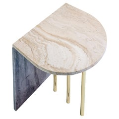Contemporary Marble Side Table by Nobe Italia Three Gold Finish Legs