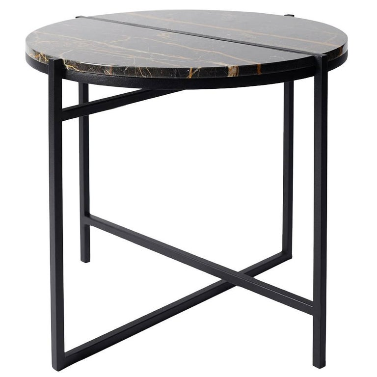 Contemporary Marble Side Table, Handcrafted, Minimalist, Modern, Round