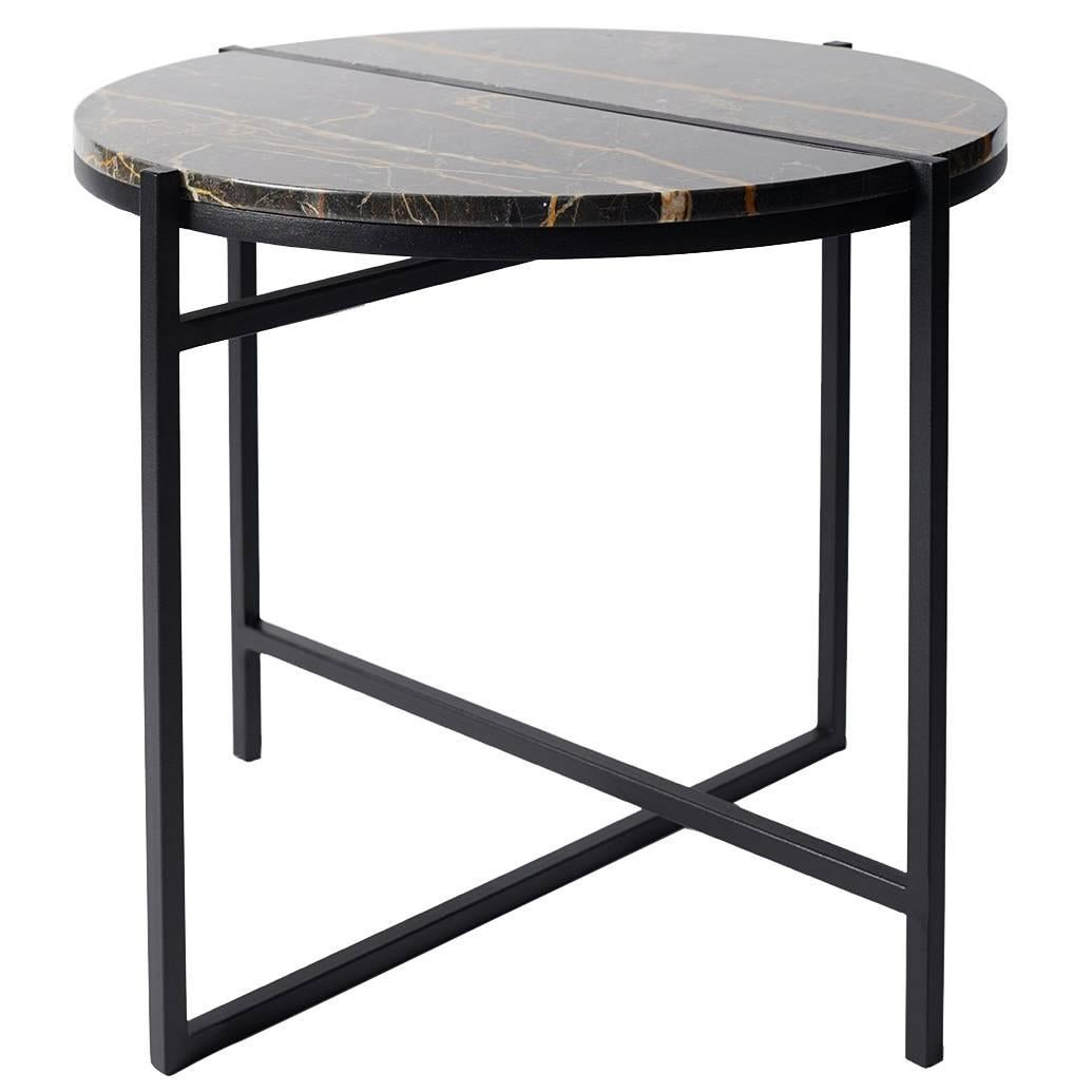 Contemporary Marble Side Table, Handcrafted, Minimalist, Modern, Round For  Sale