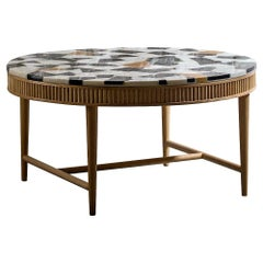 Contemporary Marble Terrazzo Coffee Table/Natural Ash