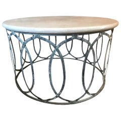 Contemporary Marble-Top Coffee Table with Metal Base