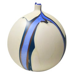 Contemporary Marbled Dione Bud Vase in Cream, Blue and Brown by Elyse Graham