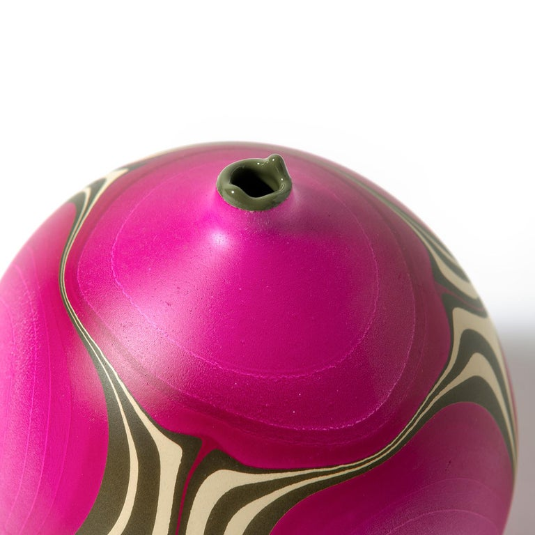 American Contemporary Marbled Rio Grande Vase in Fuchsia by Elyse Graham For Sale