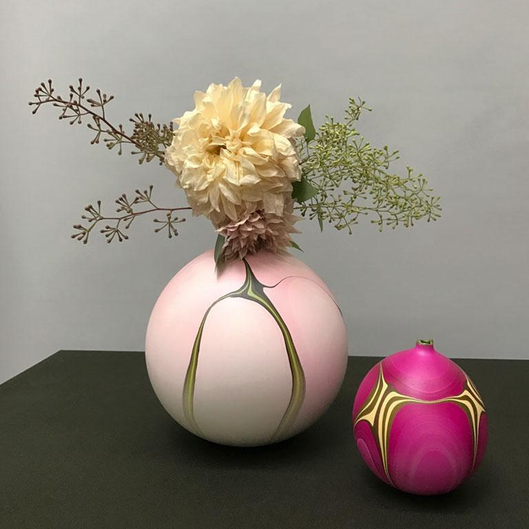 Plaster Contemporary Marbled Rio Grande Vase in Fuchsia by Elyse Graham For Sale