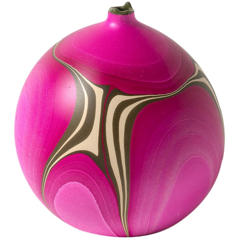 Contemporary Marbled Rio Grande Vase in Fuchsia by Elyse Graham For Sale