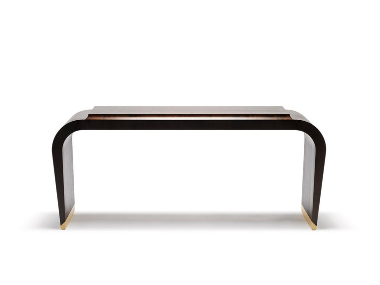 Modern Contemporary Marci Console Table in Ebonised Walnut and Solid Brass Legs For Sale