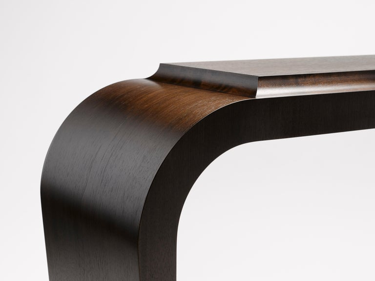 English Contemporary Marci Console Table in Ebonised Walnut and Solid Brass Legs For Sale