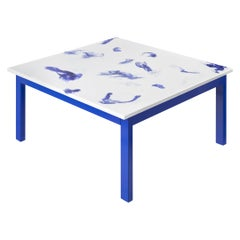 Contemporary Marco Guazzini Coffee Table Carrara Marble Wool Effect Blue White