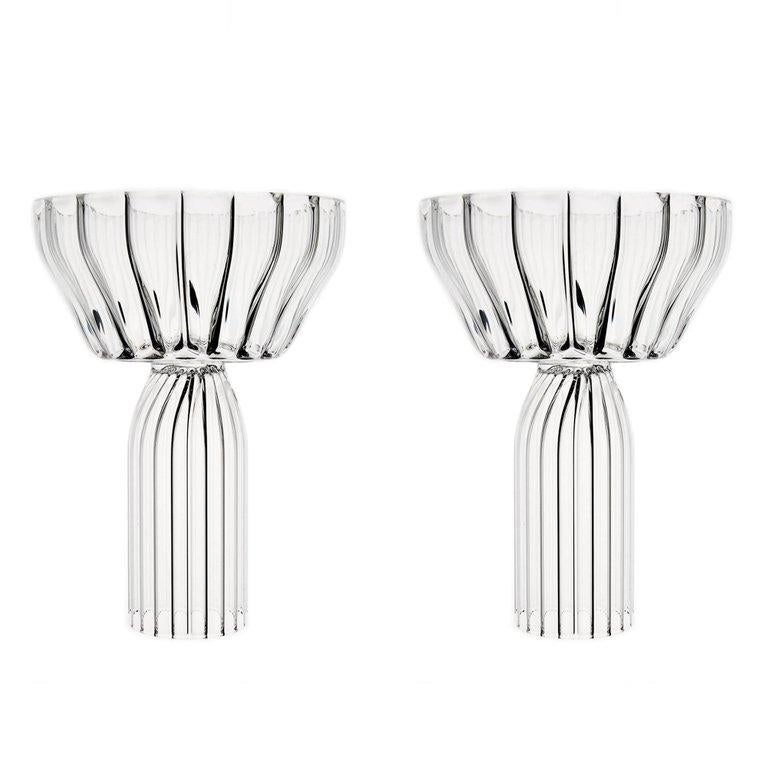 EU Clients Contemporary Margot Champagne Coupe Glasses Handcrafted, in Stock For Sale