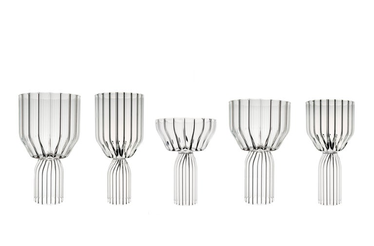 Hand-Crafted Contemporary Margot Champagne Coupe Flute Glasses Handcrafted Czech. IN STOCK For Sale