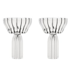 Contemporary Margot Champagne Coupe Flute Glasses Handcrafted Czech. IN STOCK