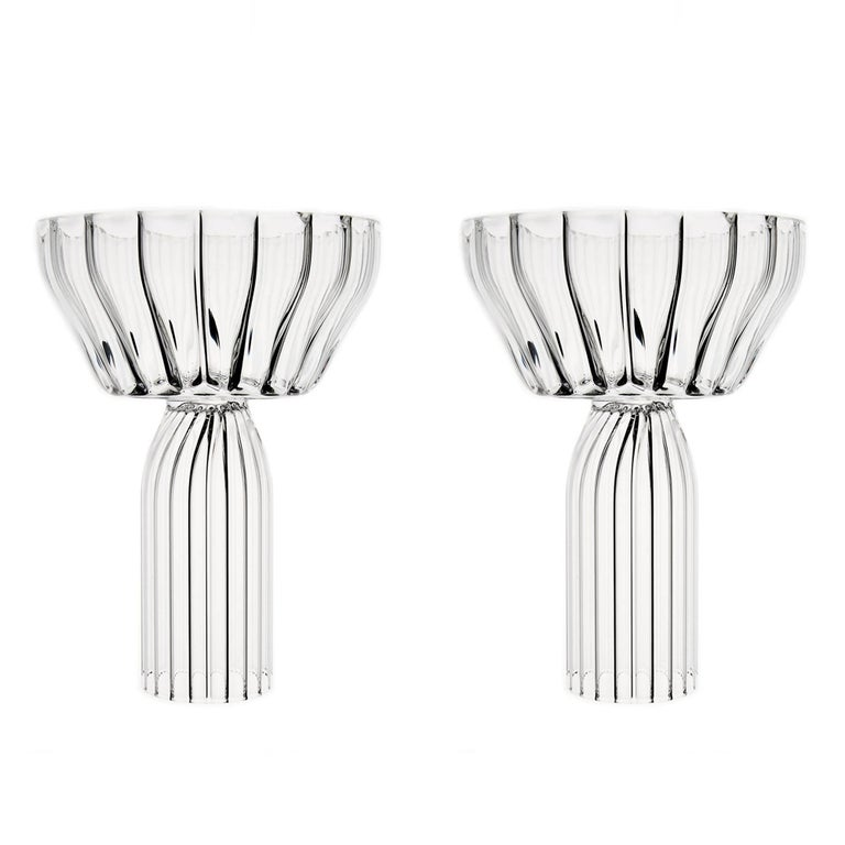 Contemporary Margot Champagne Coupe Flute Glasses Handcrafted Czech. IN STOCK For Sale