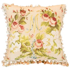 Contemporary Marie Antoinette Tapestry Pillow Back in Green Velvet