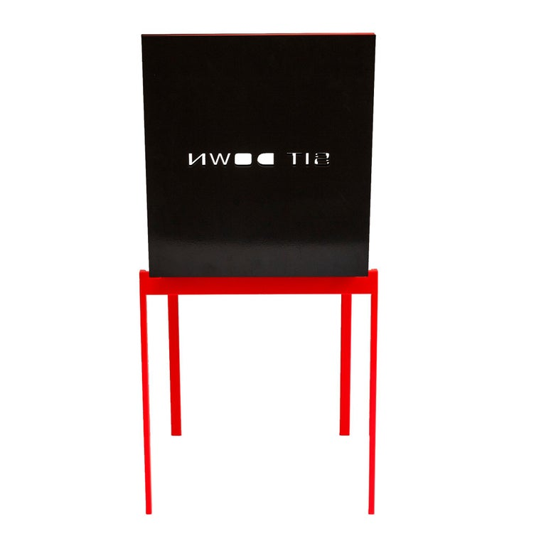 Metalwork Contemporary Mark Chair in Umbra Grey Colored Aluminum, Sit Down Inscription For Sale
