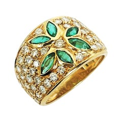 Contemporary Marquise Cut Emerald and Diamond Yellow Gold Band Ring