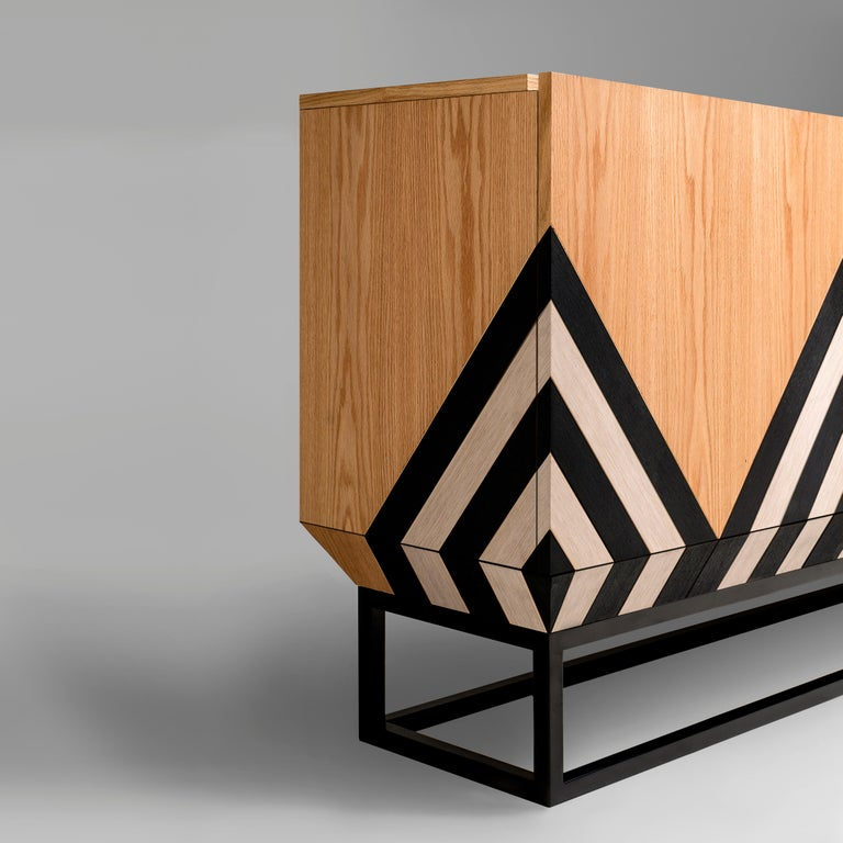 Modern Contemporary Martin Sideboard in Black, White and Natural Oak by Larissa Batista For Sale