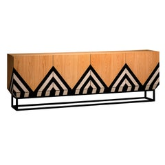 Modern Martin Sideboard in Black, White Veneer and White Oak by Larissa Batista