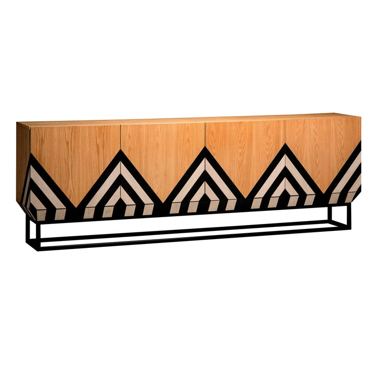 Contemporary Martin Sideboard in Black, White and Natural Oak by Larissa Batista For Sale