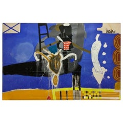 Contemporary Massive Blue Painting Magic Man Signed Ouattara Watts Dated 1990s