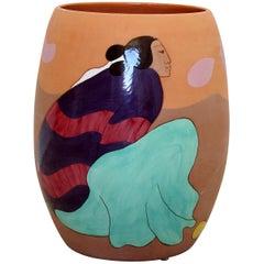 Contemporary Massive Large Ceramic Art Vessel Signed R.C. Gorman Peras, 1980s