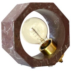 Contemporary Matlight Essential Octagon Minimalist Table Lamp in Red Marble