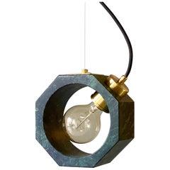 Contemporary Matlight Italian Essential Octagon Minimalist Green Marble Pendant