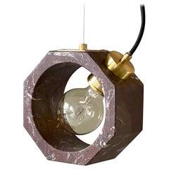 Contemporary Matlight Italian Essential Octagon Minimalist Red Marble Pendant