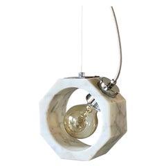 Contemporary Matlight Italian Essential Octagon Minimalist White Marble Pendant