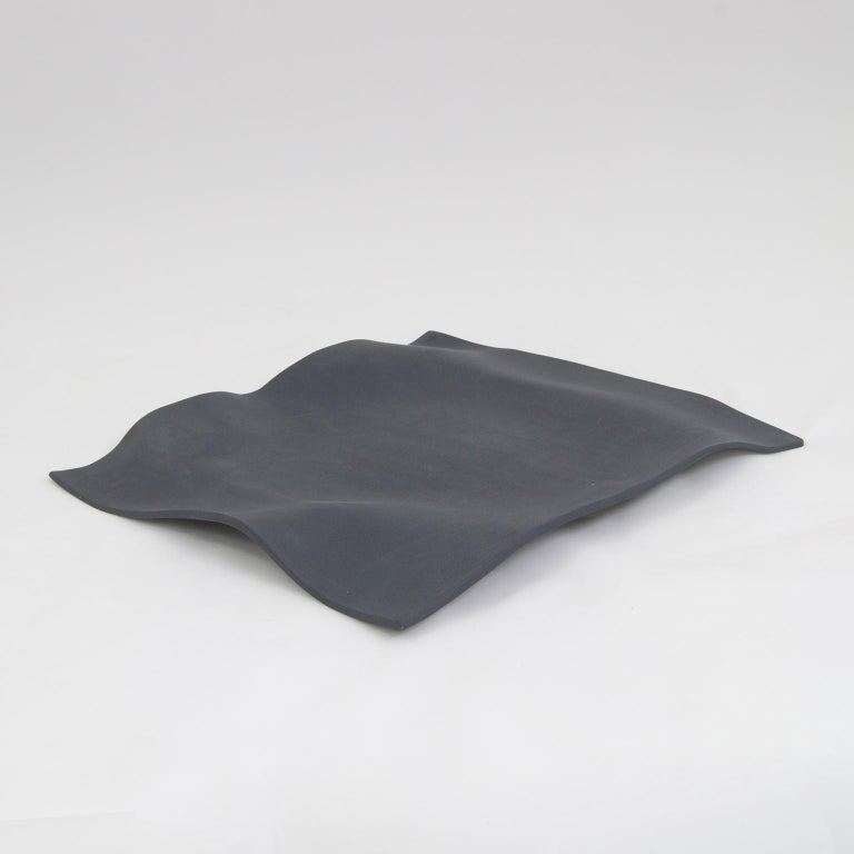 Mexican Contemporary Decorative Object, Matte Porcelain, Handmade Black Paper, in Stock For Sale